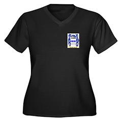 Palleske Women's Plus Size V-Neck Dark T-Shirt