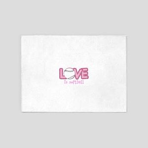 Love is Softball : Pink 5'x7'Area Rug