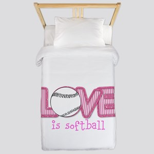 Love is Softball : Pink Twin Duvet Cover