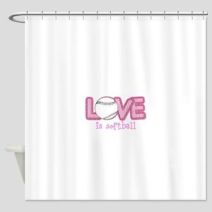 Love is Softball : Pink Shower Curtain