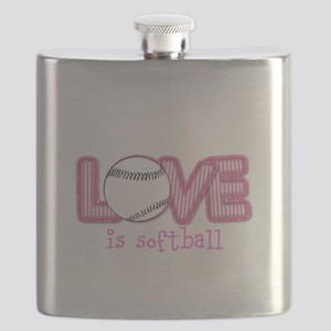 Love is Softball : Pink Flask