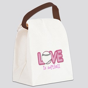 Love is Softball : Pink Canvas Lunch Bag
