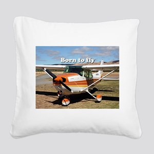 Born to fly: high wing aircra Square Canvas Pillow