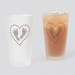 Baby Footprints in Heart of Hearts Drinking Glass