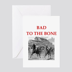 i love horse racing Greeting Cards