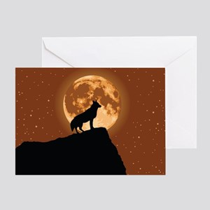 Wolf with Moon Greeting Card