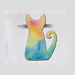 Watercolor Tie-Dye Cat Throw Blanket