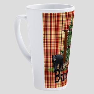 Personalize Plaid Black Bear B 17 oz Latte Mug