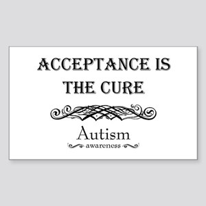 Autism ~ Acceptance is the cure Sticker (Rectangle