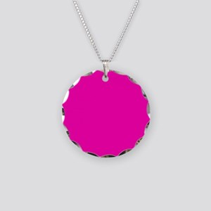 Neon Pink Solid Color Necklace Circle Charm