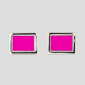 Neon Pink Solid Color Rectangular Cufflinks