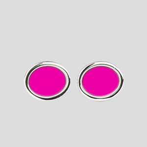Neon Pink Solid Color Oval Cufflinks