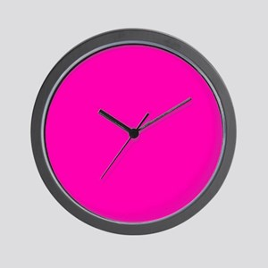 Neon Pink Solid Color Wall Clock