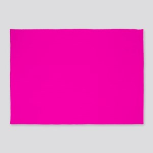 Neon Pink Solid Color 5'x7'Area Rug