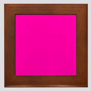 Neon Pink Solid Color Framed Tile