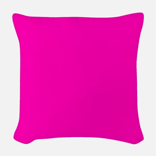Neon Pink Solid Color Woven Throw Pillow