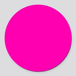 Neon Pink Solid Color Round Car Magnet