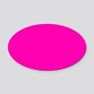 Neon Pink Solid Color Oval Car Magnet