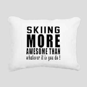 Skiing More Awesome Desi Rectangular Canvas Pillow