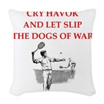 tennis joke Woven Throw Pillow