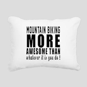 Mountain Biking More Awe Rectangular Canvas Pillow