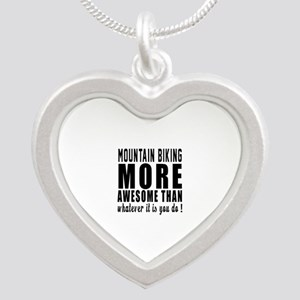 Mountain Biking More Awesome Silver Heart Necklace