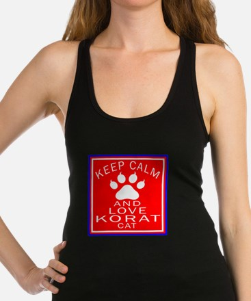 Keep Calm And Korat Cat Racerback Tank Top