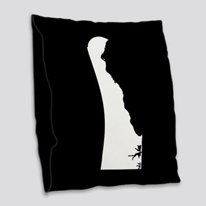 delaware white black Burlap Throw Pillow