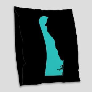 delaware blue black Burlap Throw Pillow