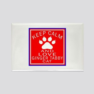 Keep Calm And Ginger tabby Cat Rectangle Magnet