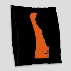 delaware orange black Burlap Throw Pillow