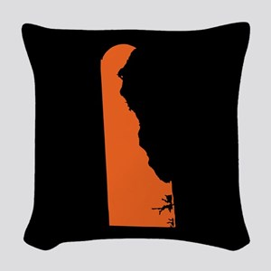 delaware orange black Woven Throw Pillow