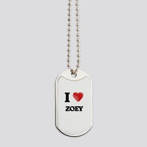 I Love Zoey Dog Tags
