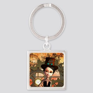 Cute girl with steampunk hat Keychains