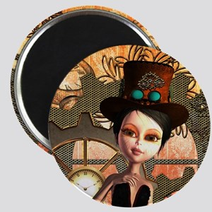 Cute girl with steampunk hat Magnets