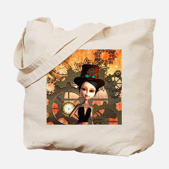 Cute girl with steampunk hat Tote Bag