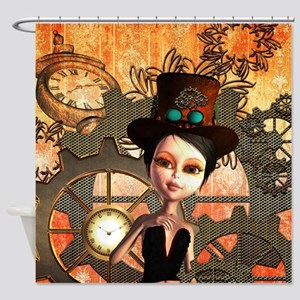 Cute girl with steampunk hat Shower Curtain