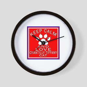 Keep Calm And Chantilly Tiffany Cat Wall Clock