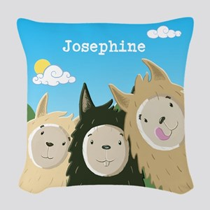 Personalised Cute Llamas Woven Throw Pillow