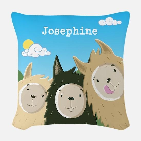 Personalised Cute Llamas Woven Throw Pillow