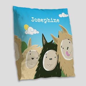 Personalised Cute Llamas Burlap Throw Pillow