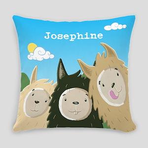 Personalised Three Cute Llamas Everyday Pillow