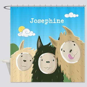 Personalised Three Cute Llamas Shower Curtain