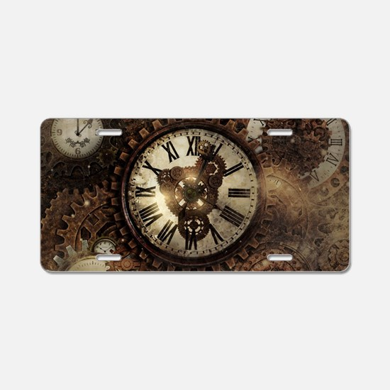 Vintage Steampunk Clocks Aluminum License Plate