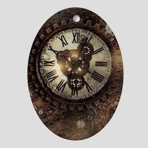 Vintage Steampunk Clocks Oval Ornament