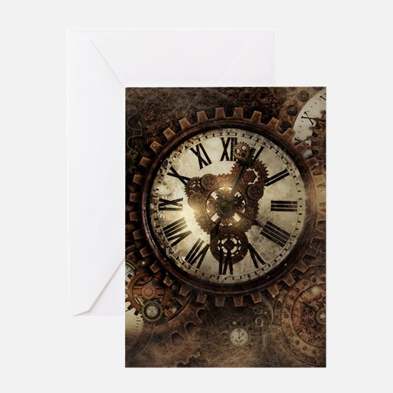 Vintage Steampunk Clocks Greeting Cards