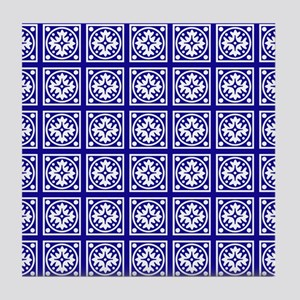 Modern White And Blue Pattern Tile Coaster