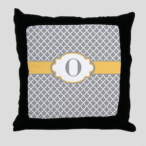 Gray Yellow Quatrefoil Monogram Throw Pillow