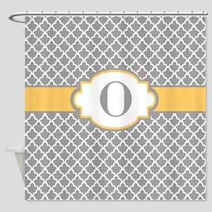 Gray Yellow Quatrefoil Monogram Shower Curtain