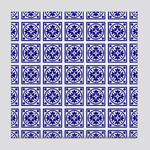 Modern Blue And White Pattern Tile Coaster